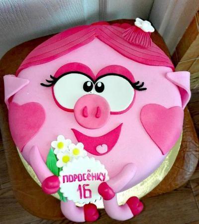 Торт Нюша с названием Поросенку