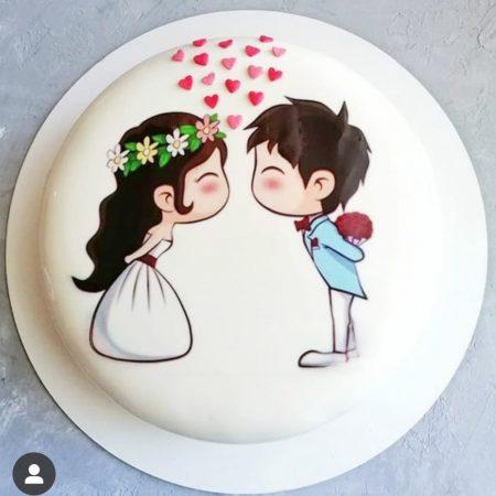Торт на свадьбу с женихом и невестой