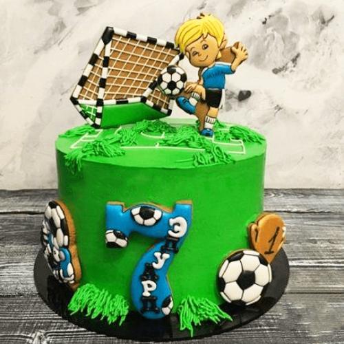 Торт для вратаря с воротами мячом и футболистом