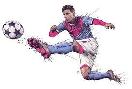 Рисунок на футбольную тематику футболист с мячом