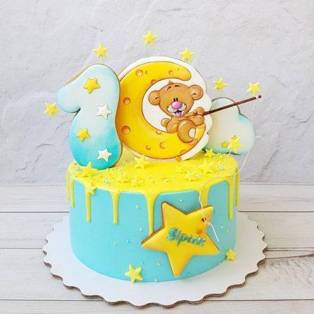 Торт с мишкой на луне