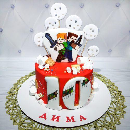 Торт с майнкрафт