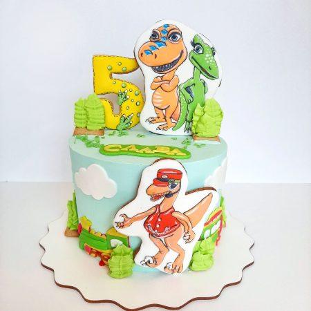 Торт с динозавром из крема
