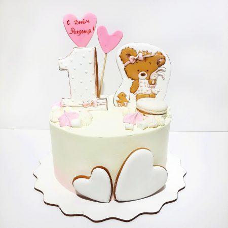 Торт на годик для девочки с мишкой