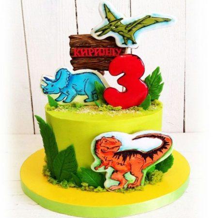 Торт с динозаврами из мультфильма земля до начала времён
