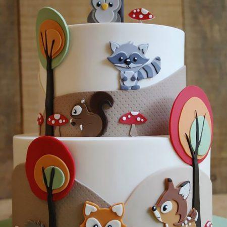 Торт лесные звери