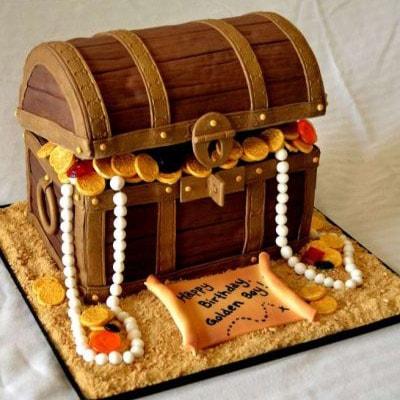 Коричневый торт сундук с жемчугом пиратская добыча
