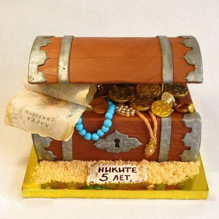 Торт сундук с драгоценностями