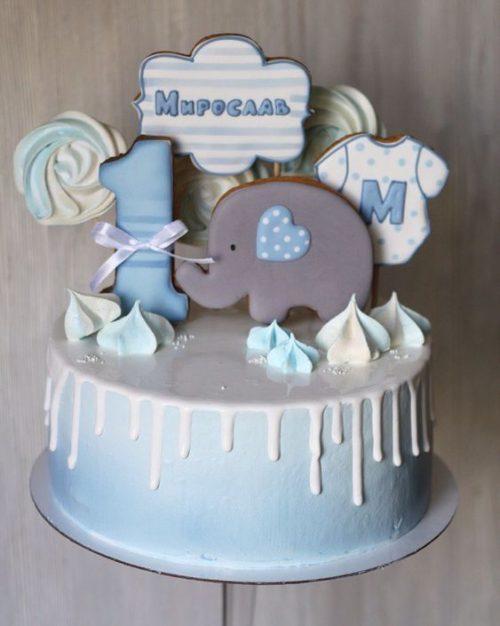 Торт на годик со слоном
