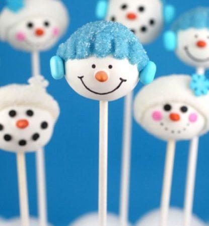 Кейк попс снеговики