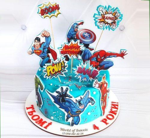 Йогуртовый торт марвел с топперами героев marvel