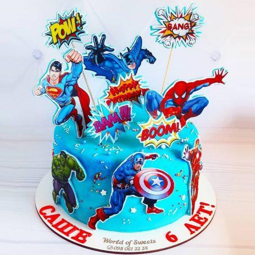 Торт для мальчика с супергероями