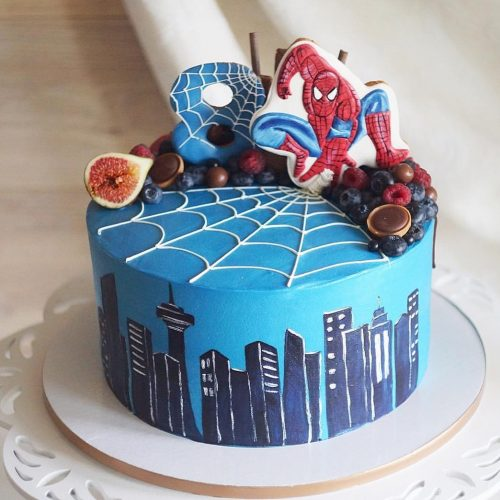 Торт с человеком пауком и паутинойна 8 лет