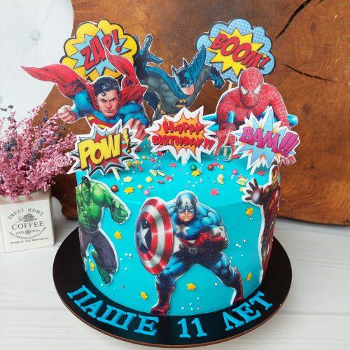 Торт с героями марвел