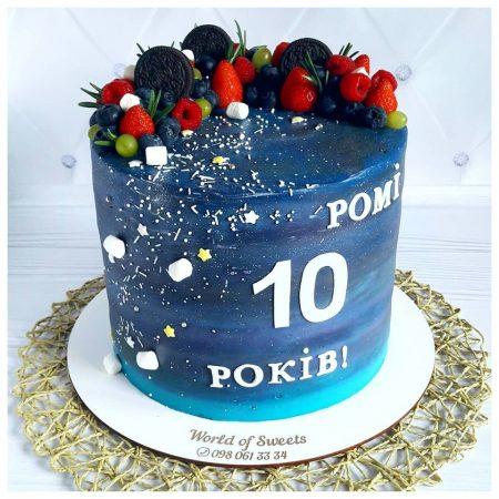 Торт мальчику на 10 лет в космическом стиле