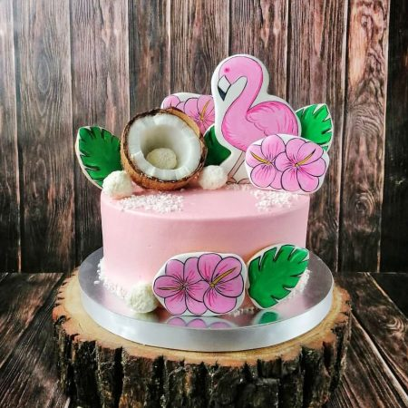 Торт с розовым фламинго девочке