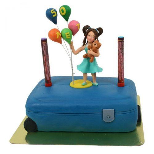 Торт чемодан с девушкой и воздушным шаром
