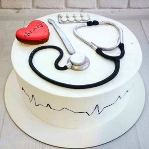 Торт для доктора с стетоскопом