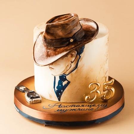 Торт с шляпой ковбоя настоящему мужчине