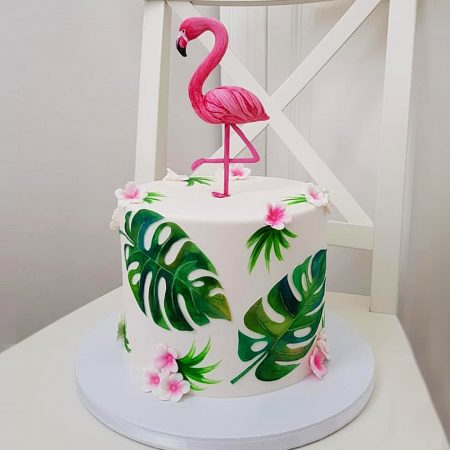 Торт с розовым фламинго