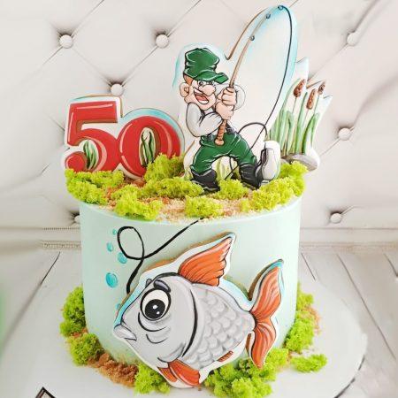 Торт рыбаку на юбилей