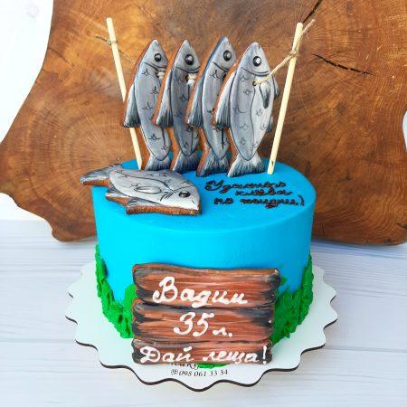 Торт на заказ для рыбака с рыбой