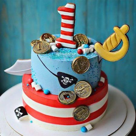 Торт с пиратами из мастики