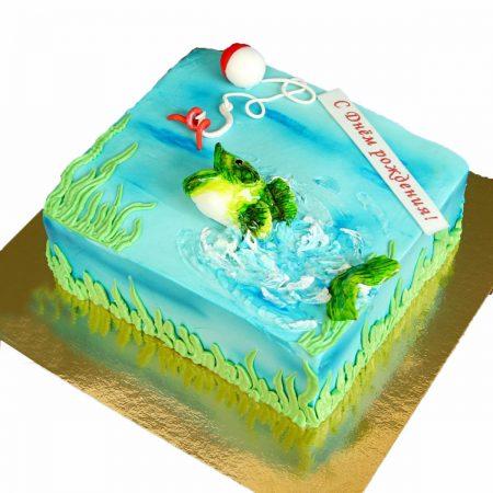 Торт с рыбацкими снастями