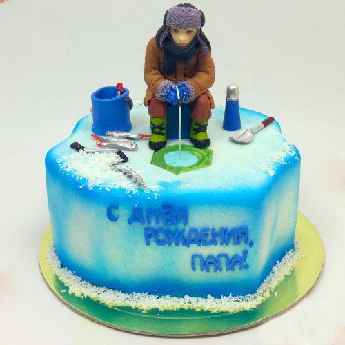 Торт для мужчины рыбака с зимней рыбалкой