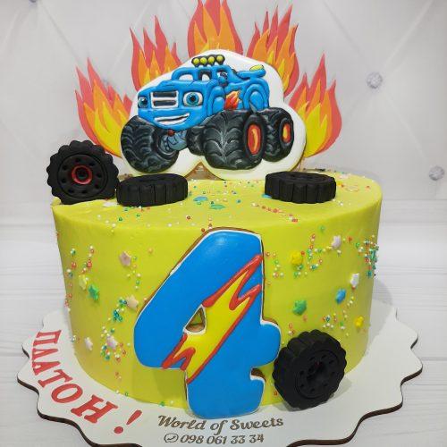 Детский торт Вспыш и чудо машинки