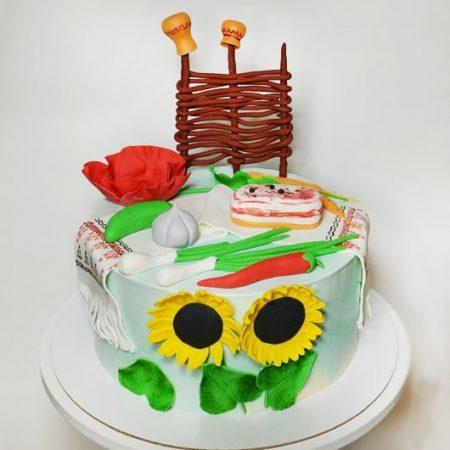 Торт из мастики в украинском стиле