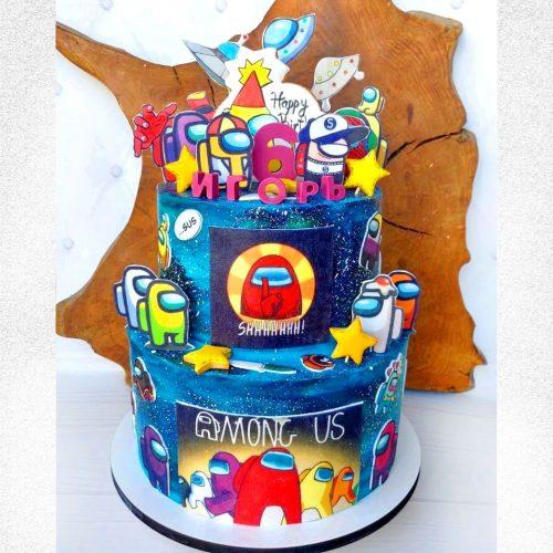 Торт с персонажами амонг ас